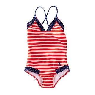 Azul Little Girls Red White Stripe In The Navy Ruffle One Piece Swimsuit