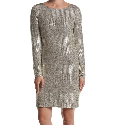 Jessica Howard Gold Womens Size 14 Metallic Shimmer Sheath Dress
