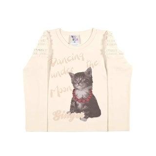 Toddler Girl Shirt Long Sleeve Ruffled Graphic Tee Pulla Bulla Sizes 1-3 years