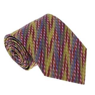 Missoni U3598 Red/Pink/Blue/Gold Diagonal Textured 100% Silk Tie - 60-3