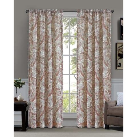 Corisandra Farmhouse Paisley Window Curtain Panel