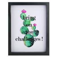 "Battery Operated LED Lighted Inspirational Cactus Framed Light Box 9"" x 7"" - White"