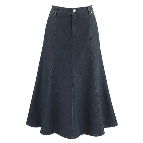 "Women's 8-Gore Denim Riding Maxi Skirt - Medium Blue - 31.5"" Long - Medium Wash"