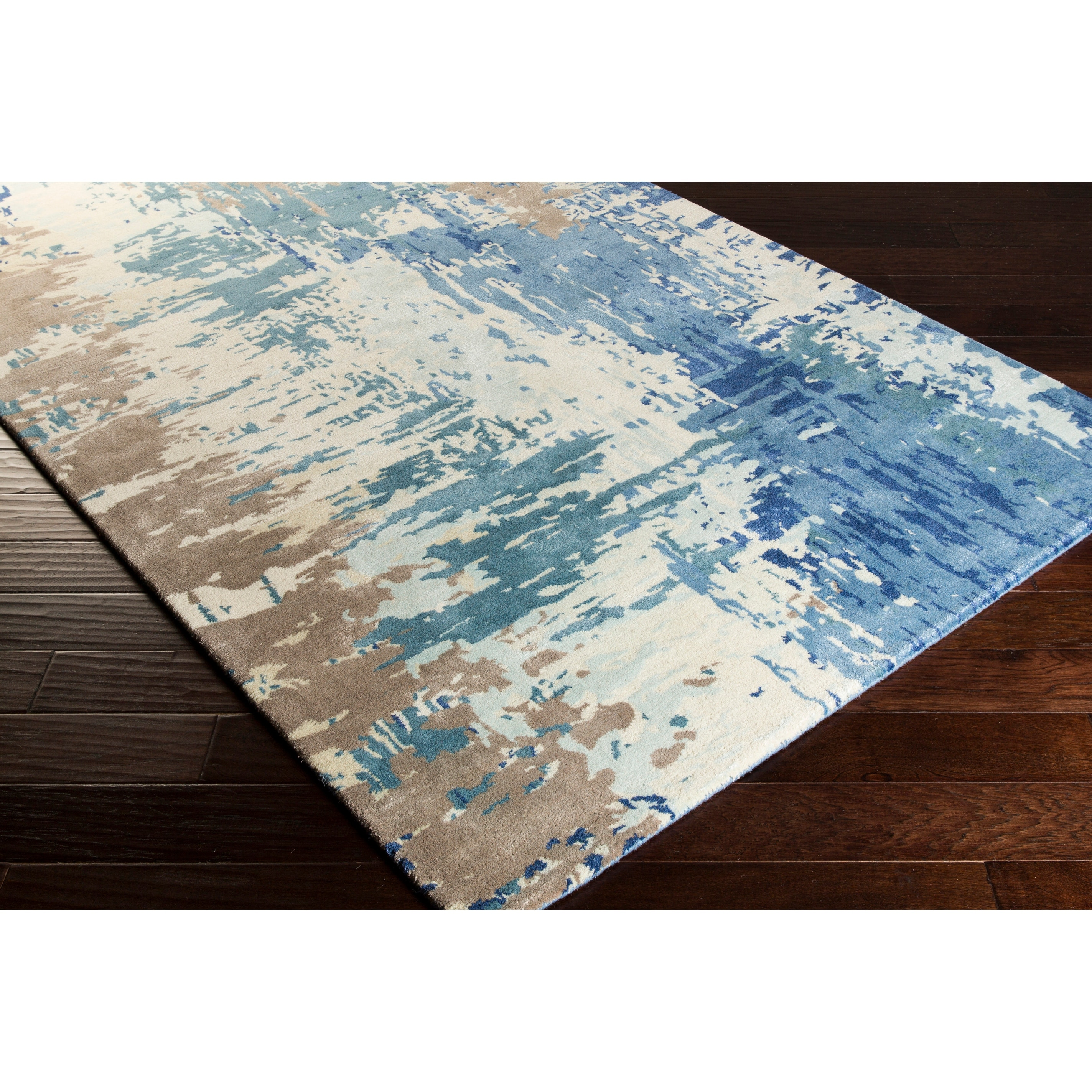 Lucas Handmade Abstract Wool Blend Area Rug Overstock 9289969