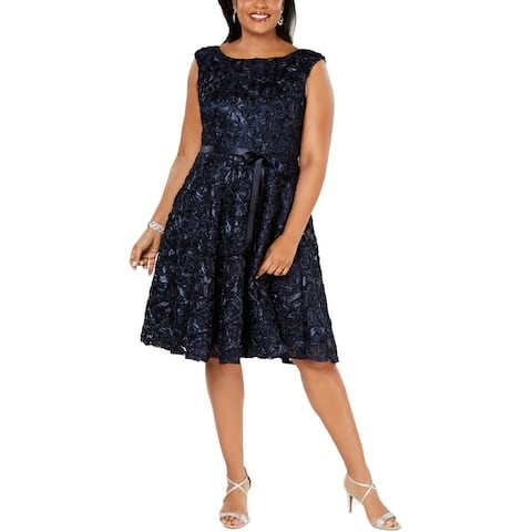 Alex Evenings Womens Plus Midi Dress Embroidered Cocktail - Navy