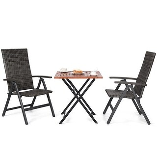 Costway 3PCS Patio Rattan Folding Reclining Chairs Table Set Indoor Outdoor Furniture - Set of 3
