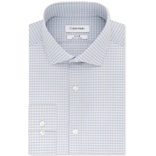 Calvin Klein Mens Checkered Button Up Dress Shirt