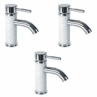 3 Bathroom White Marble Faucet Chrome Single Hole 1 Handle Renovator's Supply
