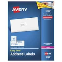 Avery Easy Peel Permanent-Adhesive Address Labels For Laser Printers, 1 x 2-5/8 in, White, Box of 3000