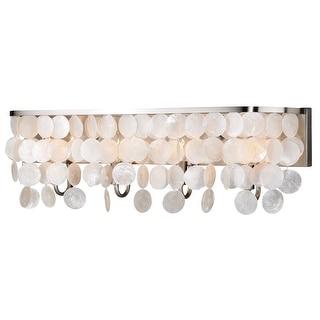 Elsa 4 Light Satin Nickel Capiz Shell Coastal Bathroom Vanity Fixture - 28-in W x 9-in H x 5.5-in D
