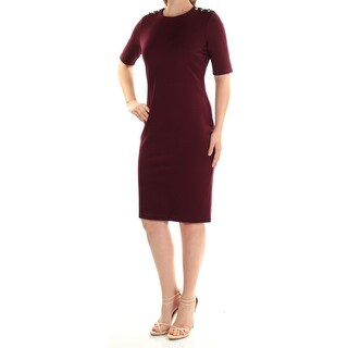 RALPH LAUREN $135 Womens New 1211 Burgundy Short Sleeve Body Con Dress S B+B
