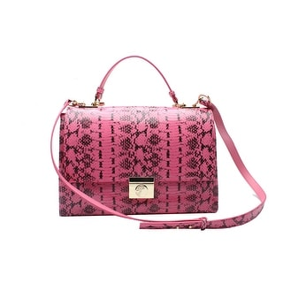 Versace Reptile Pattern Leather Shoulder Handbag - Pink - S