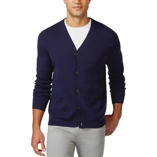 Club Room Big and Tall Cardigan Sweater Navy Blue Cotton 3XB