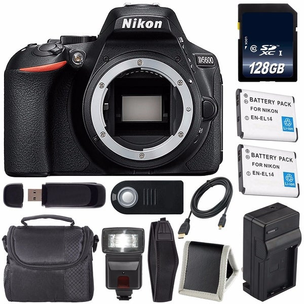 Nikon D5600 DSLR Camera (Body Only) (Black) International Model 1575 +  EN-EL14 Battery + External Rapid Charger + 128GB Bundle