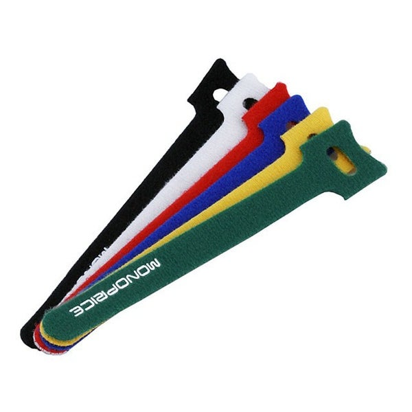 Monoprice Hook and Loop Fastening Cable Ties, 6 in, 120 pcs/pack, 6 Colors