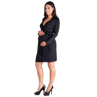 24seven Comfort Apparel Long Sleeve Mini Maternity Wrap Dress