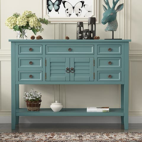 Modern Console Table Sofa Table with 7 Drawers,1 Cabinet and 1 Shelf