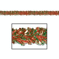 Club Pack of 12 Festive Red & Green Foil Tinsel 6-Ply Christmas Garlands 15' - Unlit