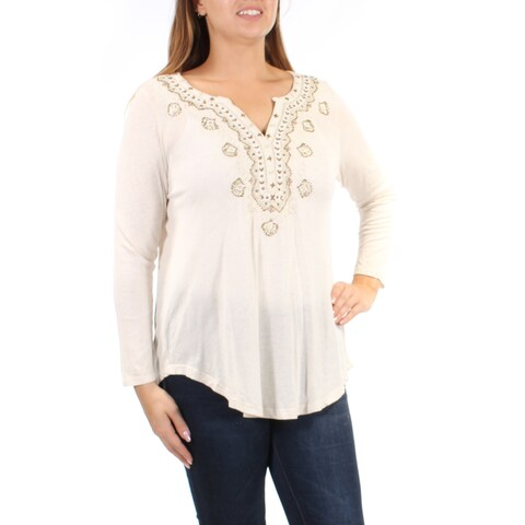 LUCKY BRAND Womens Beige Beaded Long Sleeve V Neck Tunic Top Size: XL