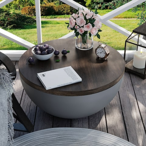 COSIEST Indoor Outdoor Accent table, Bowl-Shaped Masonry & Mahogany Colored Coffee Table