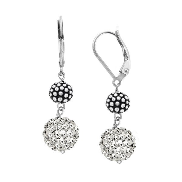 Ball Drop Earrings with Swarovski elements Crystals Pave in Sterling Silver