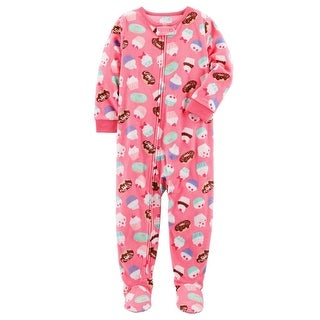 Carter's Little Girls' 1 Piece Cupcake Fleece Pajamas 2-Toddler
