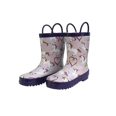Foxfire Girls Pink Rainbow Unicorn Print Side Handle Rain Boots