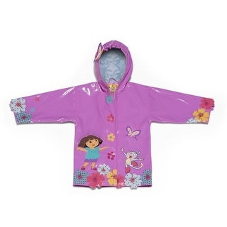 Kidorable Baby Girls Pink Dora The Explorer Floral Hooded Rain Coat 2T-6X