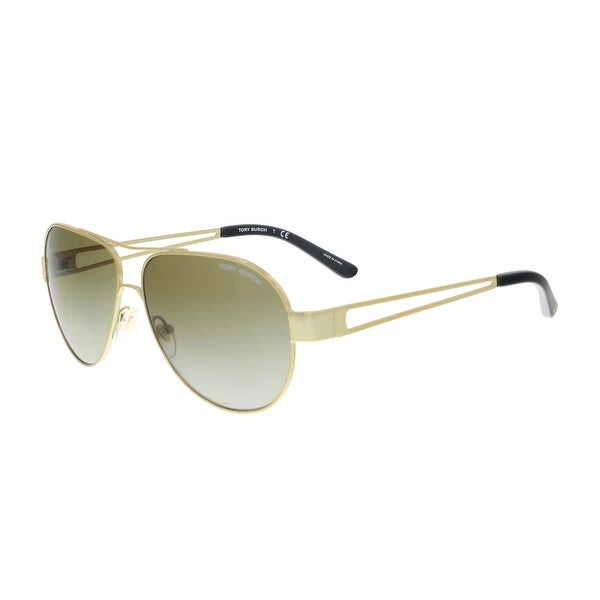 7bfe290d2b Shop Tory Burch TY6060 304113 Gold Aviator Sunglasses - 55-12-140 ...