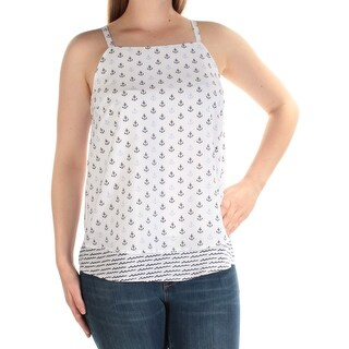 Womens White Anchors Sleeveless Square Neck Top Size M