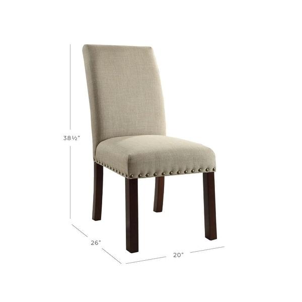 HomePop Linen Tan Nail Head Parsons Chairs (Set of 2) - N/A