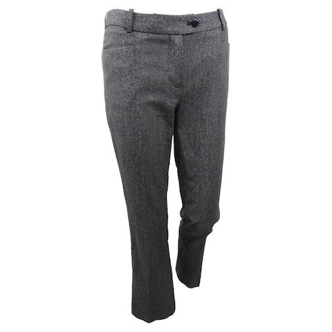 Calvin Klein Women's Petite Herringbone Pants - Black/Cream