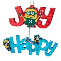 Kurt Adler Despicable Me Minion Made Happy and Joy Holiday Ornaments Set of 2