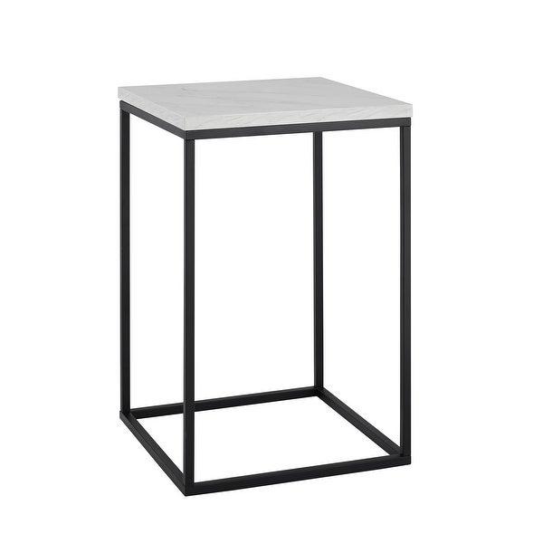 "Delacora WE-BDF16LWSTWM 16"" Long Marble Top Laminate and Metal End Table - White Marble"
