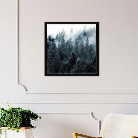 Oliver Gal 'Over The Pine' Nature and Landscape Wall Art Framed Print Forest Landscapes - Black, White