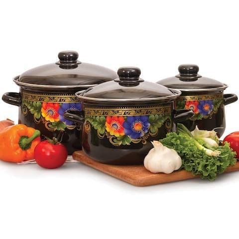 STP Goods Russian Flowers Enamel on Steel Stock Pots Set - 3 Piece