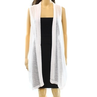Alfani NEW White Women's Size Small S Open Front Knit Vest Sweater