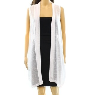 Alfani NEW White Women's Size XS Open Front Cardigan Sweater Vest