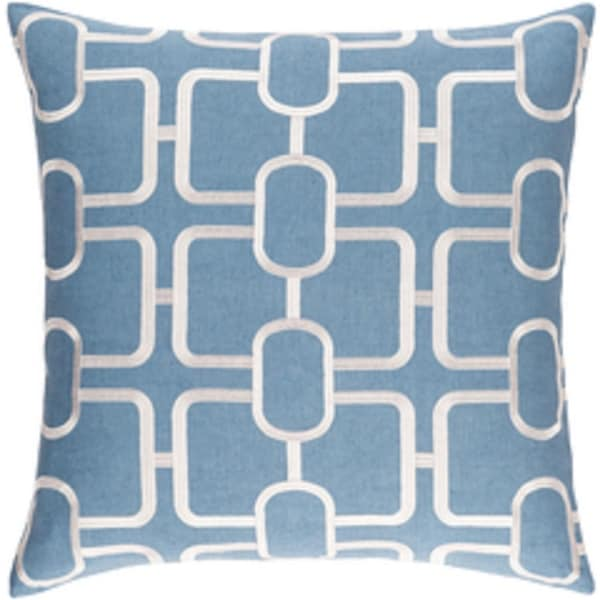 """22"""" Tribal Elements Mariana Blue and White Woven Decorative Throw Pillow - Down Filler"""