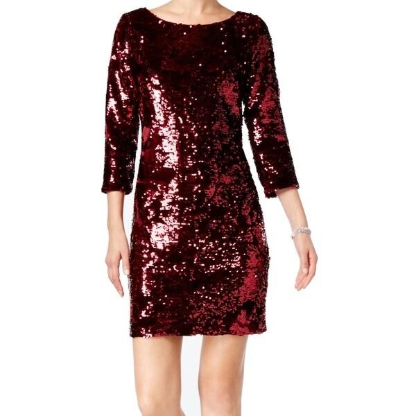 Vince Camuto Womens Velvet Sequin Shimmer Sheath Dress
