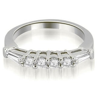 0 80 CT Tapered Baguette Round Cut Diamond Wedding Ring In 14KT Gold White H I
