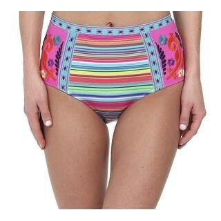 Nanette Lepore NEW Pink Women's Size XS Bikini Bottom Striped Swimwear