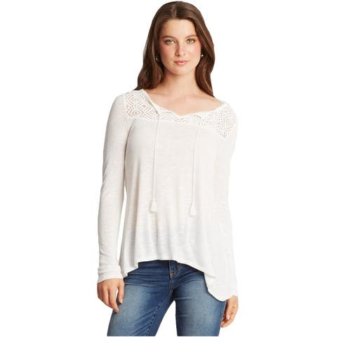 Aeropostale Womens Lace LS Embellished T-Shirt, Off-white, X-Small