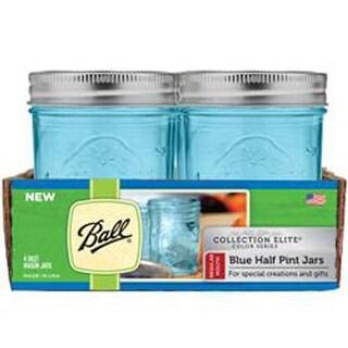Half Pint - Elite Color Series Blue - Ball (R) Regular Mouth Canning Jars 4/pkg