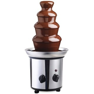 Gymax 4 Tiers Hot Luxury Chocolate Fondue Fountain Commercial Stainless Steel