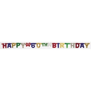 "Club Pack of 12 Multi-Colored ""Happy 60th Birthday"" Small Jointed Party Banners 75"""