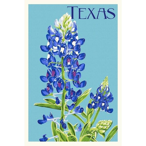 TX - Bluebonnet - Letterpress - LP Artwork (100% Cotton Towel Absorbent)