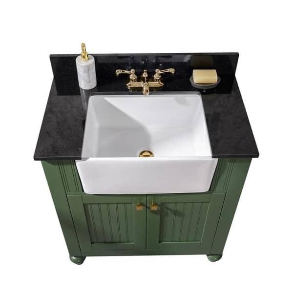 Legion Furniture 30 Inch Bathroom Vanity In Vogue Green With Black Granite Top Wlf6022 Vg Overstock 31578252
