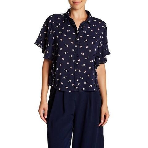 Elodie Navy Blue Women Size Large L Floral Print Button-Front Blouse