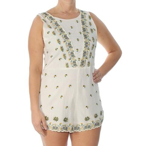 FREE PEOPLE Womens Ivory Printed Sleeveless Jewel Neck Romper Size: 8